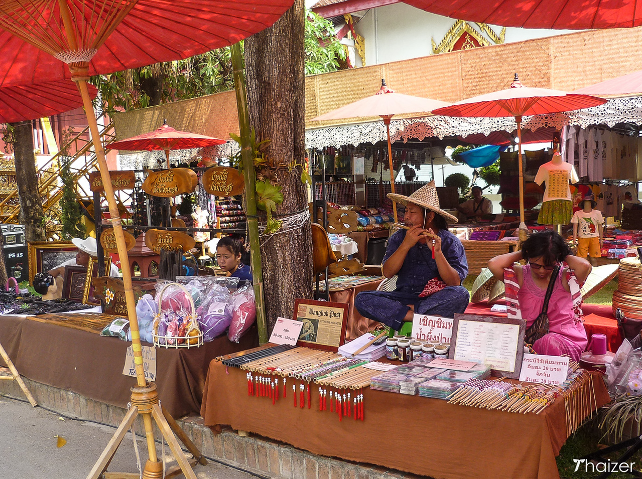 vendors on Sunday afternoon in Wat Phra Singh, Chiang Mai