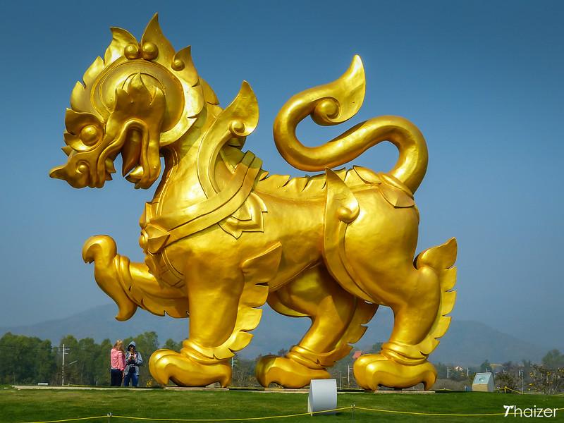 giant golden Singha lion at Singha Park, Chiang Rai
