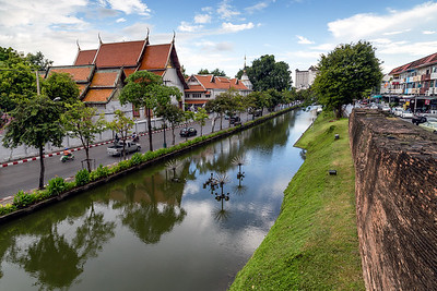 Chiang Mai Old City Surrounded by the Ancient Wall and Moat