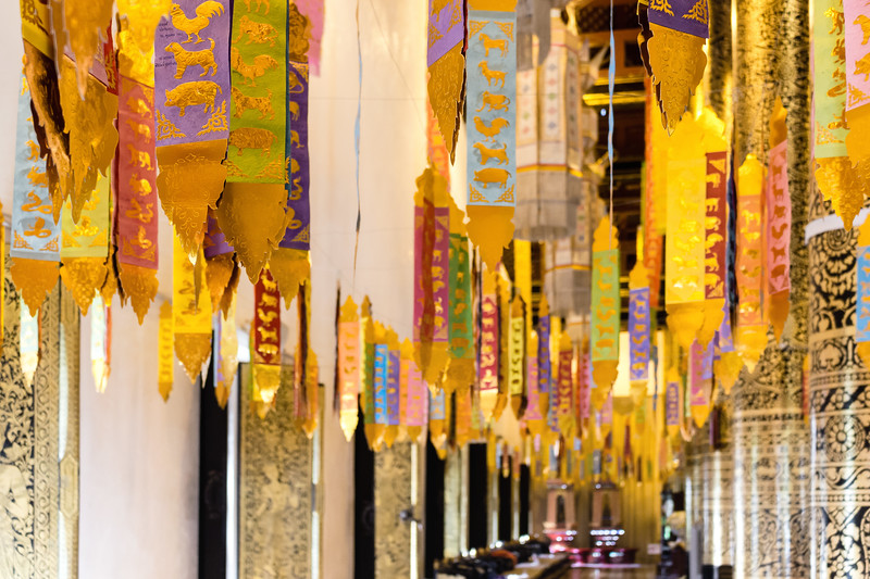 Colourful Prayer Flags at Wat Chedi Luang