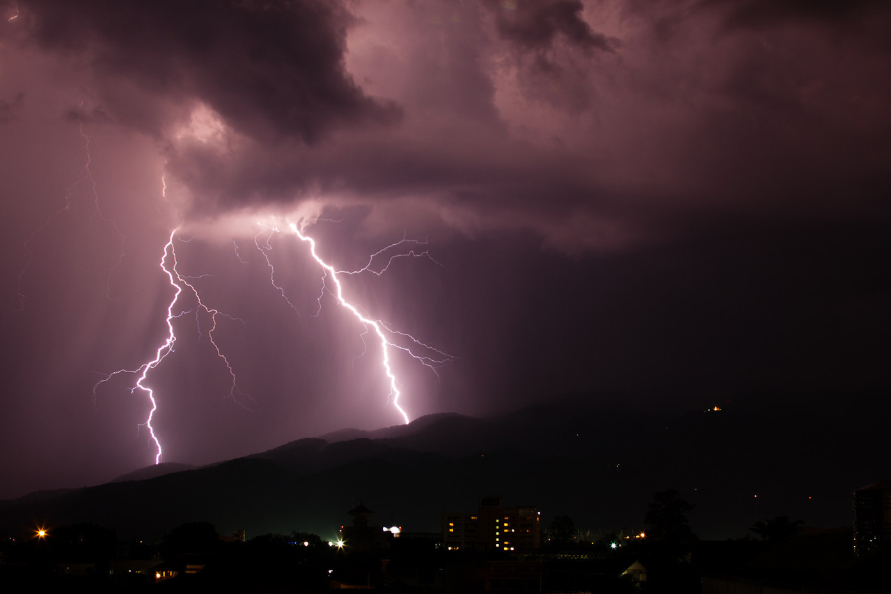 Thunderstom over Doi Suthep mountain in Chiang Mai, Thailand.