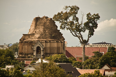 The ruined stupa of Wat Chedi Luang in Chiang Mai, Thailand.