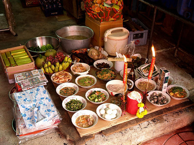 Banquet for their ancestors. Bangkok, Thailand.  Chinese New Year
