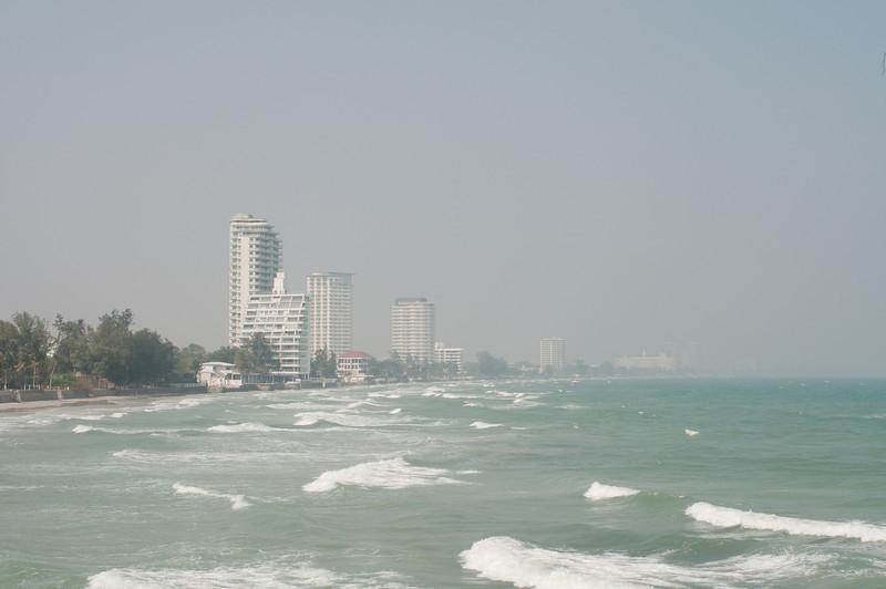 View of the Hua Hin coastline from Khao Takiab Beach