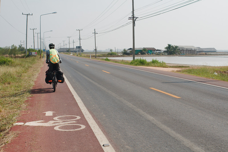 """Sometimes (by chance) we'd end up on Thailand's """"Scenic Route"""" with a designated bike lane"""