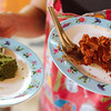 Our curry pastes: green curry and panang curry