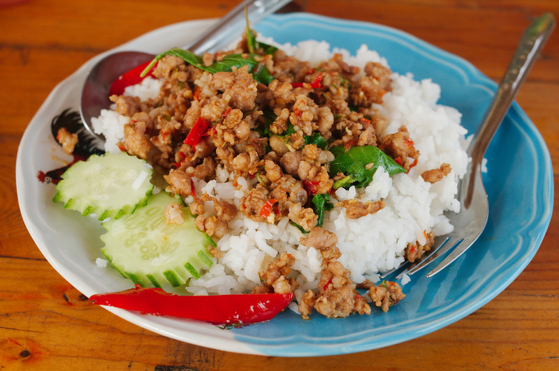 We regularly ate the incredibly spicy kaprao moo (holy basil with pork) at roadside eateries