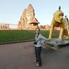 Posing outside of Lopburi's iconic Prang Sam Yot Temple