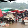Stuck in the rain at the Doi Muser Market