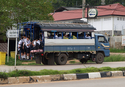 Truck bus full of school children