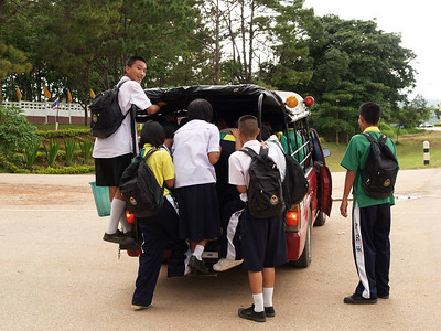 Loading the truck bus after school