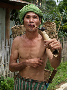 Banana farmer after bringing bananas to the small store