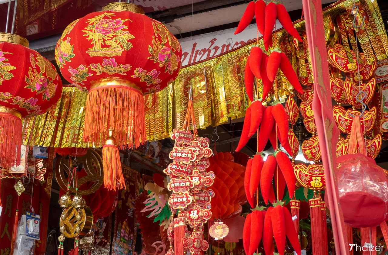 red lanterns and good luck souvenirs for sale in Chiang Mai's Chinatown area