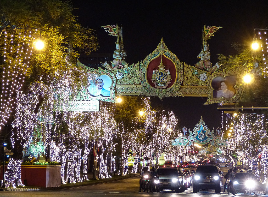 December lights at Ratchadamnoen Avenue, Bangkok
