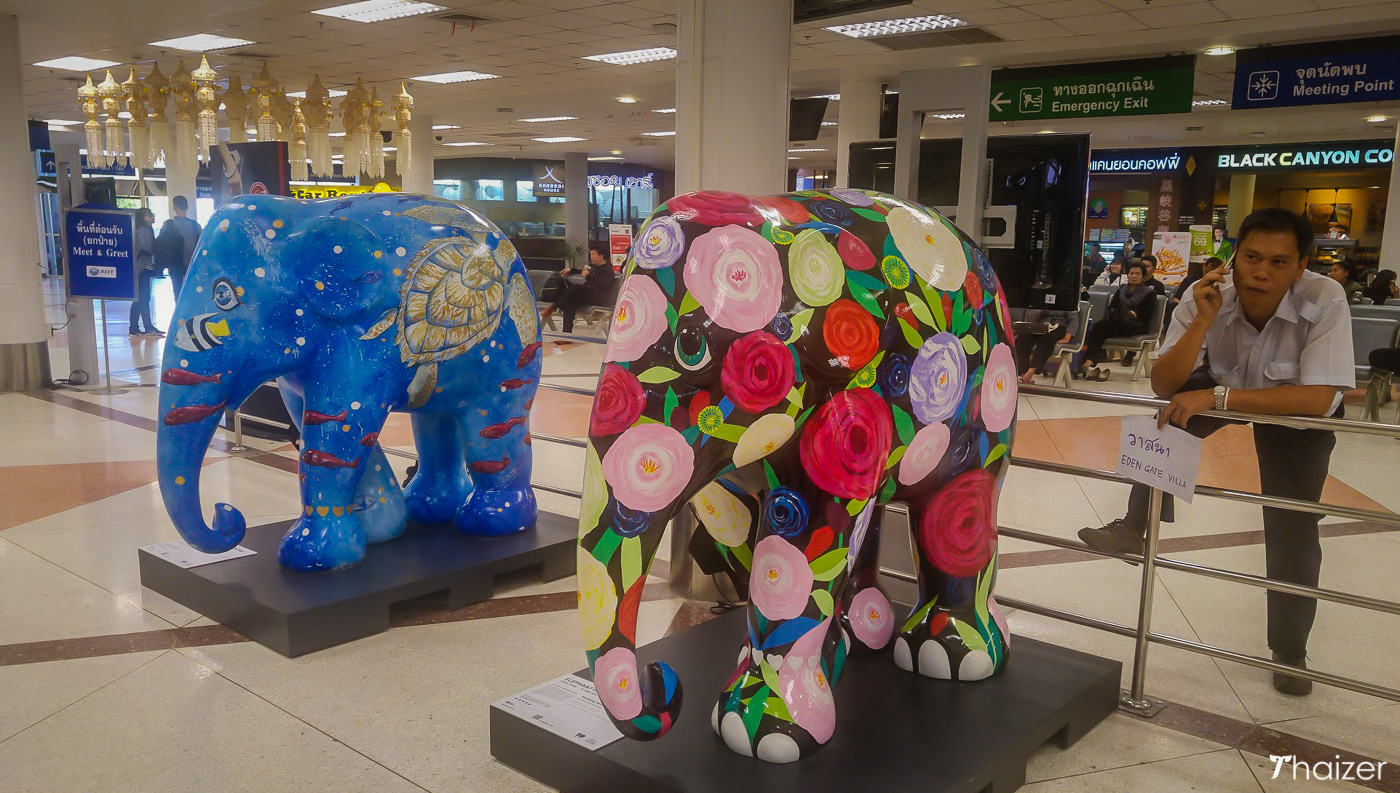 elephants at domestic arrivals Chiang Mai airport