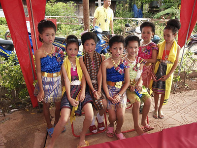 Girls dressed in their dancing costumes