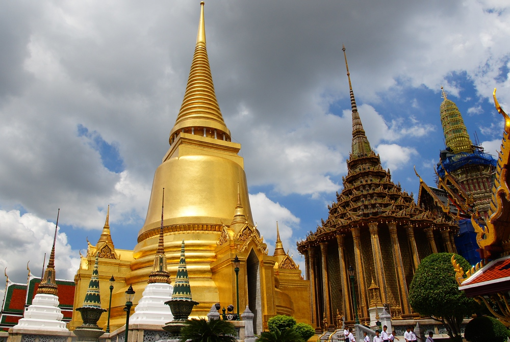 This is a travel photo from the Grand National Palace (Wat Phra Kaew) showcasing the gorgeous complex that is a top tourist attraction in Bangkok, Thailand.