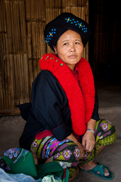 Portrait of a Yao Hill Tribe woman near Chiang Mai in Thailand.