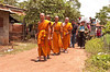 Monks Lead the Funeral Procession to the Wat