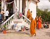 Monks descend Crematorium Stairs After Making Final Farewell