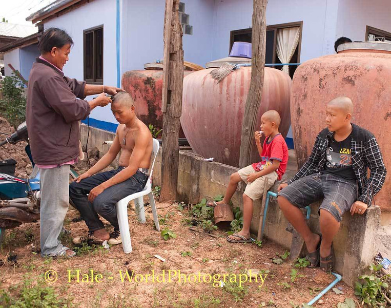Boys Getting Their Head and Eyebrows Removed To Participate In the Funeral Ritual for a Relative