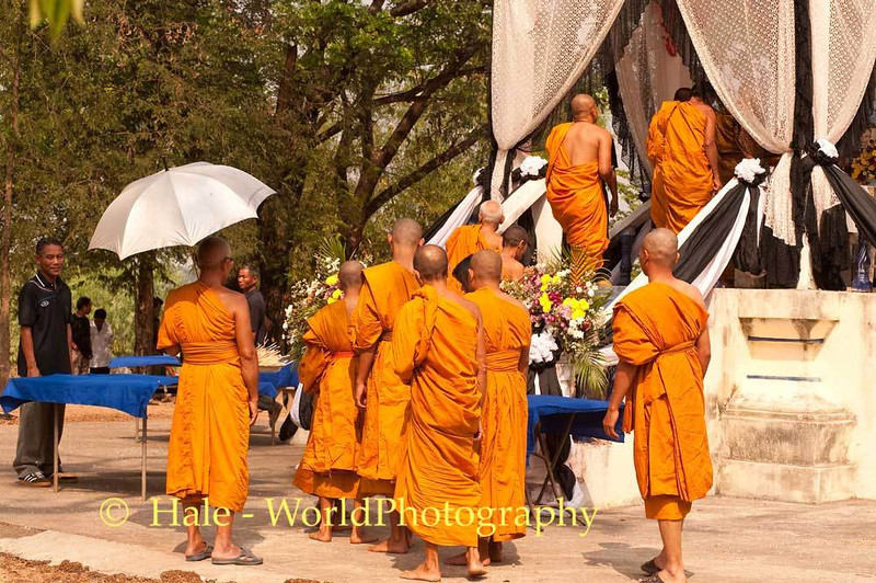Monks Climb the Stairs of the Crematorium to the Furnace