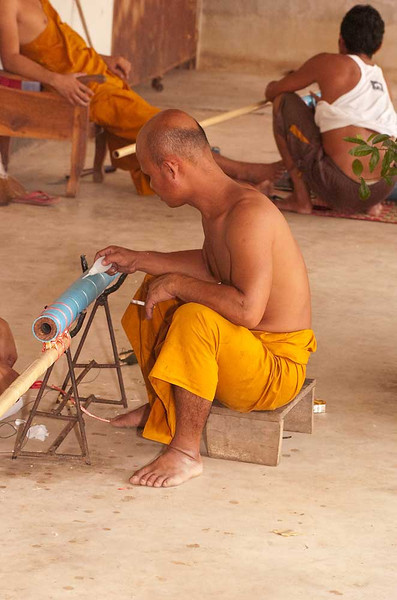 """Rocketman"" Constructing Rocket At the Wat in Baan Tahsang"