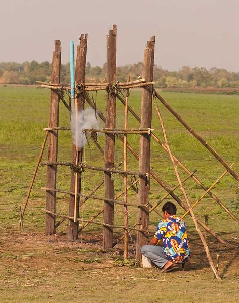 Launching A Small Rocket In Baan Tahsang