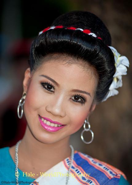 University Student Dancer Awaiting Start of Khao Phansa Night Procession