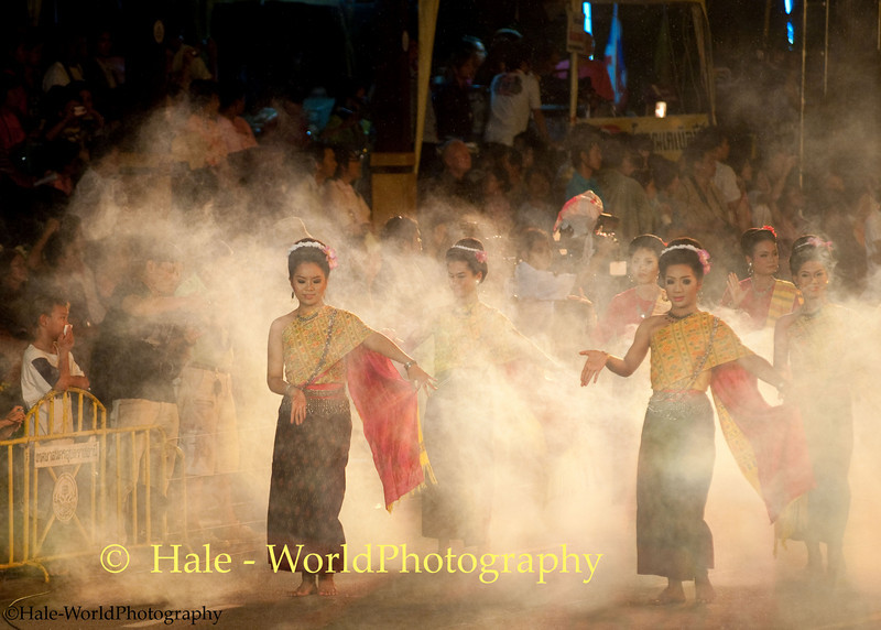University Student Dancers Participating In Khao Phansa Night Procession