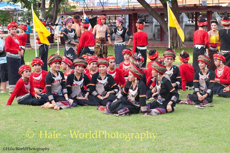 University Student Dancers Awaiting Start of Khao Phansa Night Procession