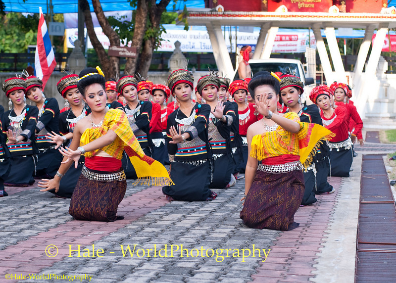 University Student Dancers Warming Up While Awaiting Start of Khao Phansa Night Procession