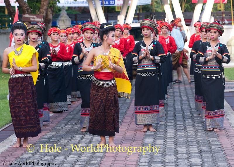 University Student Dancers Warming Up While Awaiting Start of Khao Phansa Night Procession