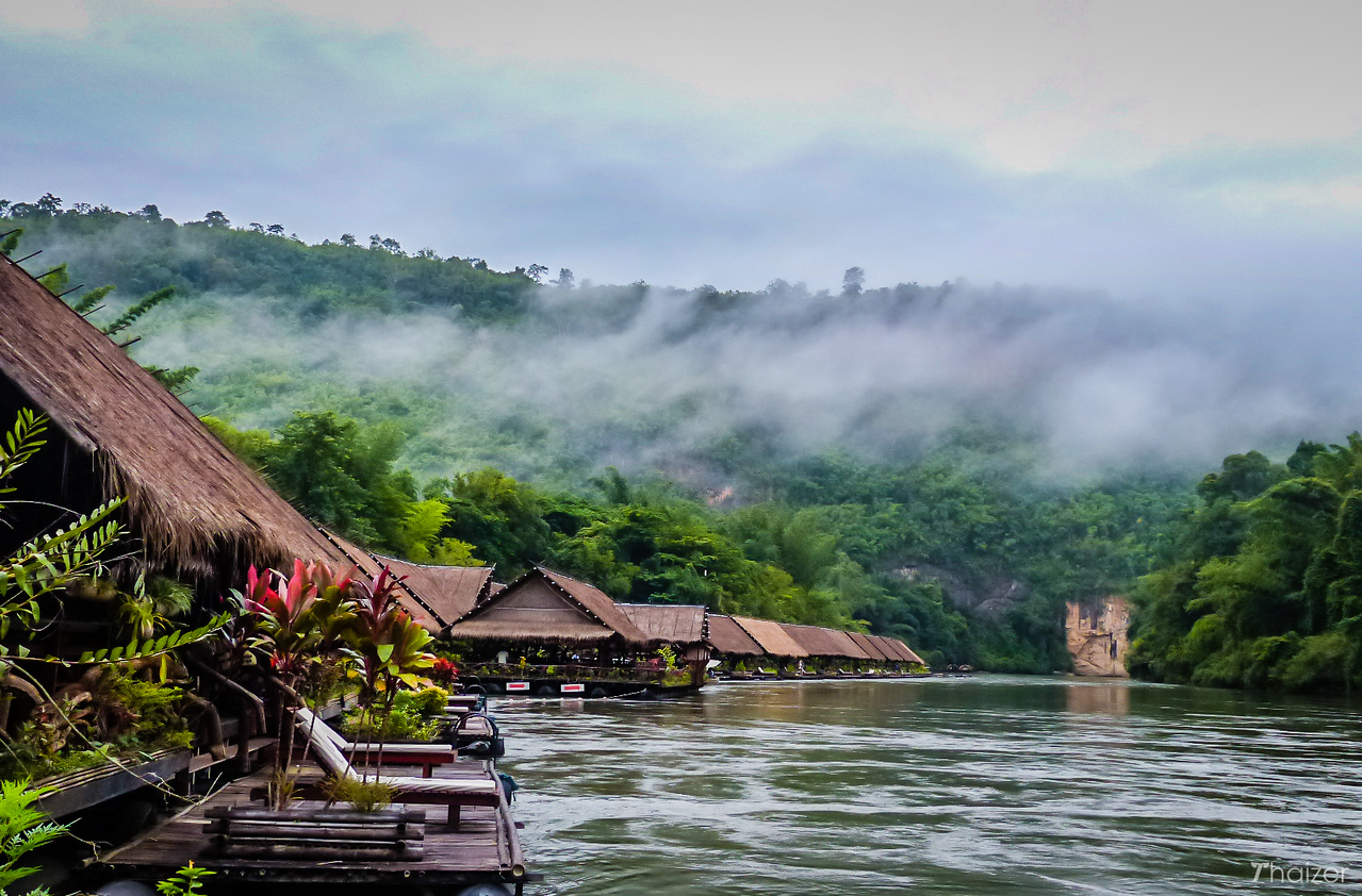 morning mist at River Kwai Jungle Rafts, Kanchanaburi