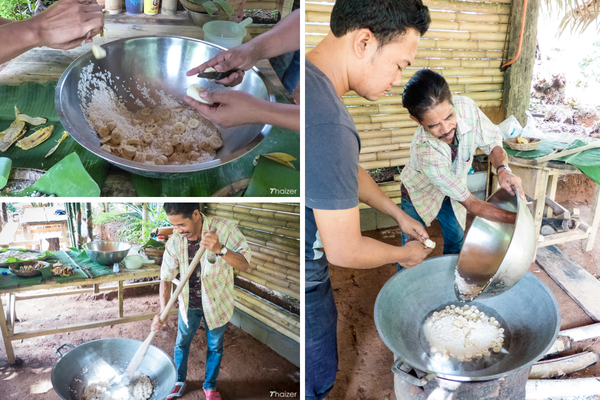 Tee and Eak prepare food for Somboon
