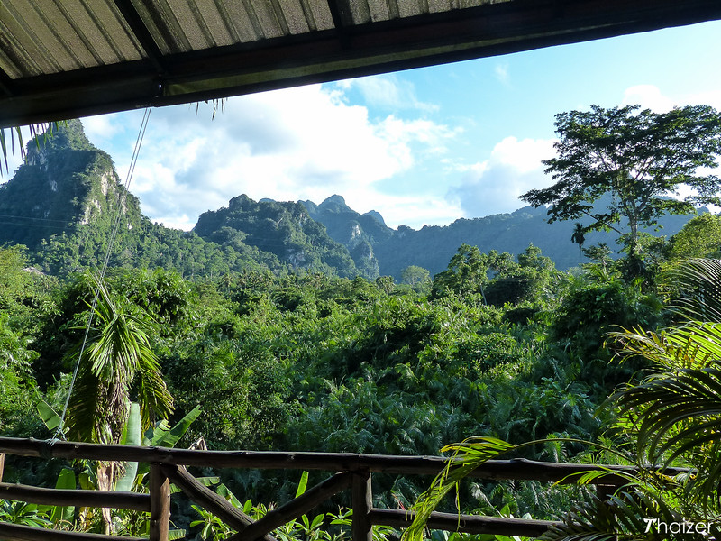 view of the Khao Sok jungle from the dining area at Anurak Community Lodge