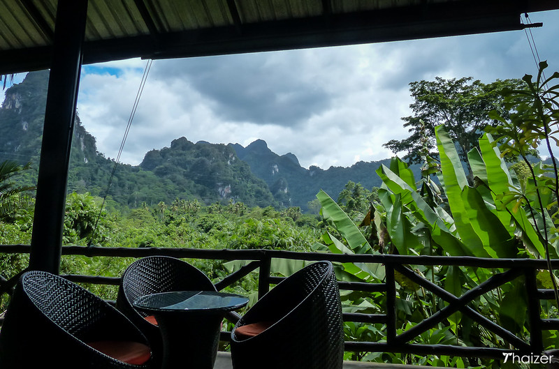 view from the dining and bar area ta Anurak Community Lodge, Khao Sok