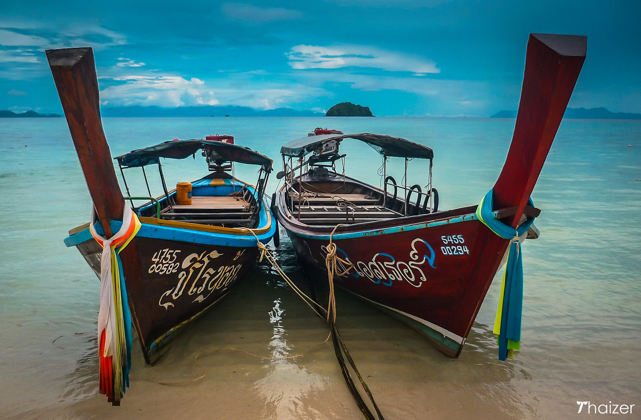 longtail boats on Ko Lipe