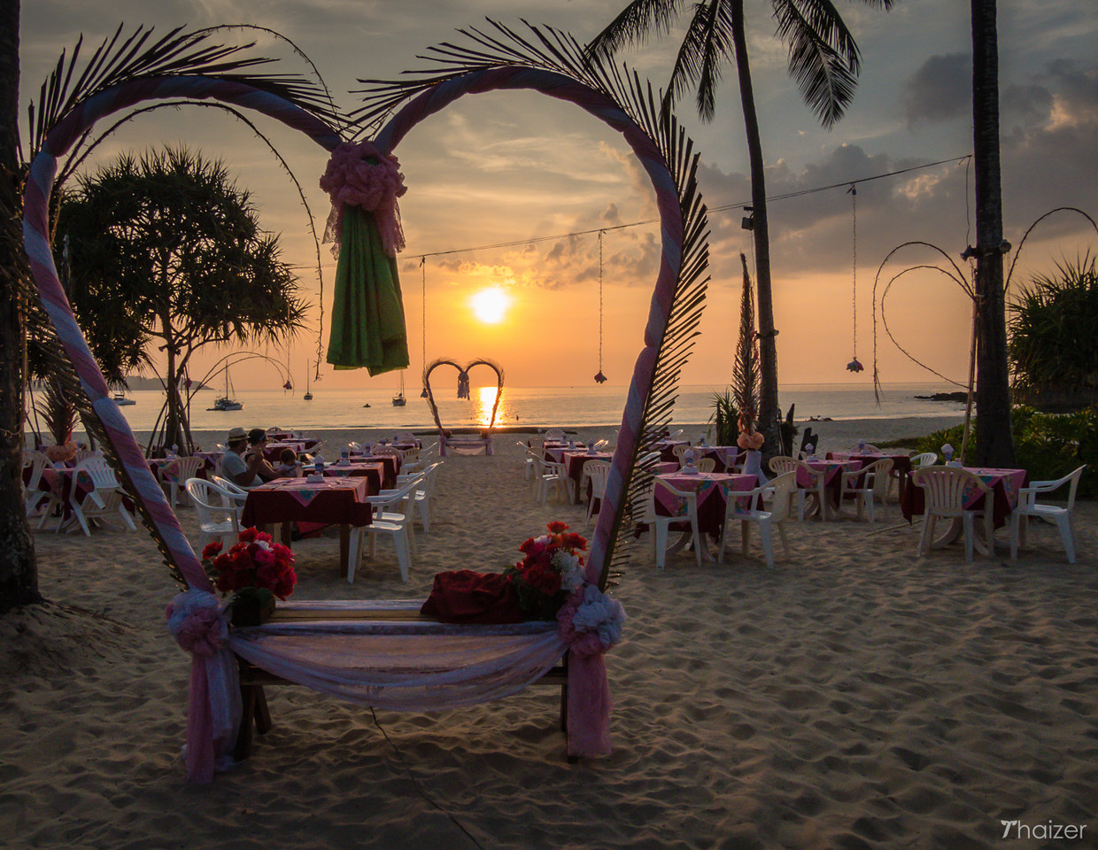 romantic Valentine's Day dinner on the beach at Ko Mook