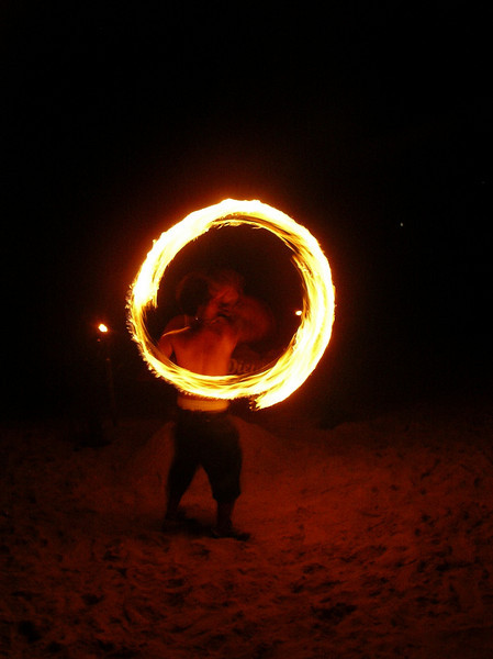 Long exposure of nightly fire dance