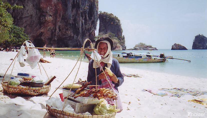 food vendor on Phra Nang Beach, Krabi