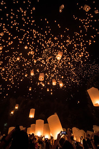 Lanterns released during the Yee Peng festival in Chiang Mai, Thailand.