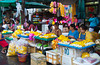 Pak Klong Talad outdoor flower, fruit and vegetable market in Bangkok, Thailand.