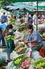 Pak Klong Talad outdoor flower, fruit and vegetable market in Bangkok, Thailand.