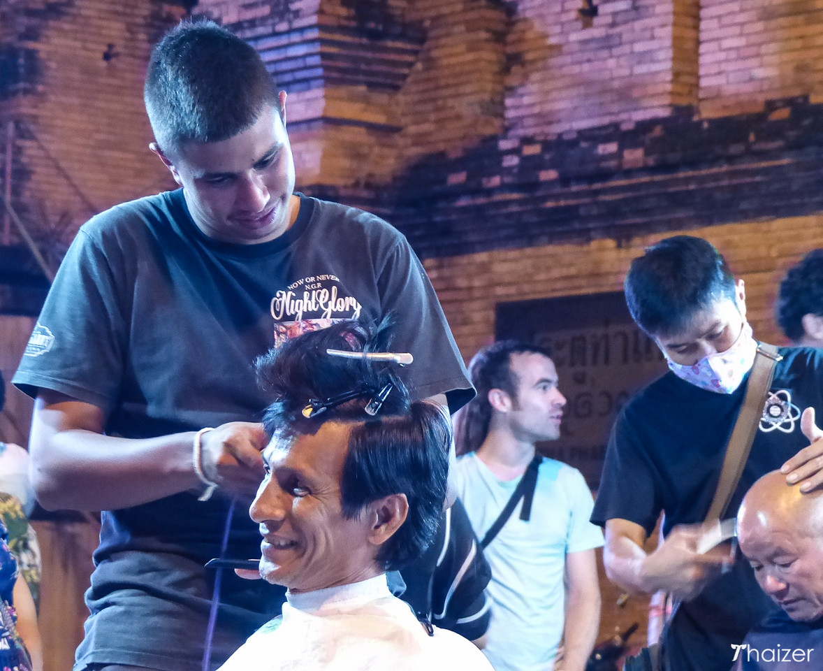 free hair cuts at Thapae Gate, Chiang Mai