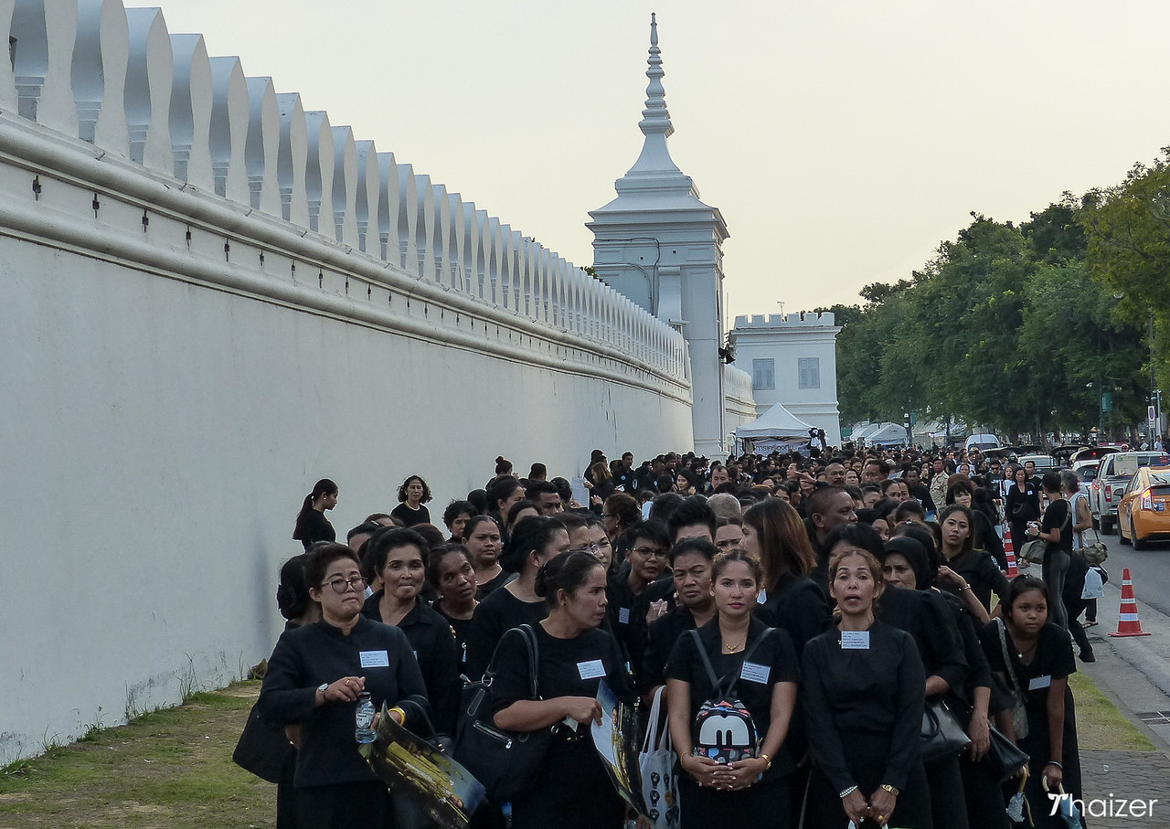 mourning the Thai king at the Grand Palace, Bangkok