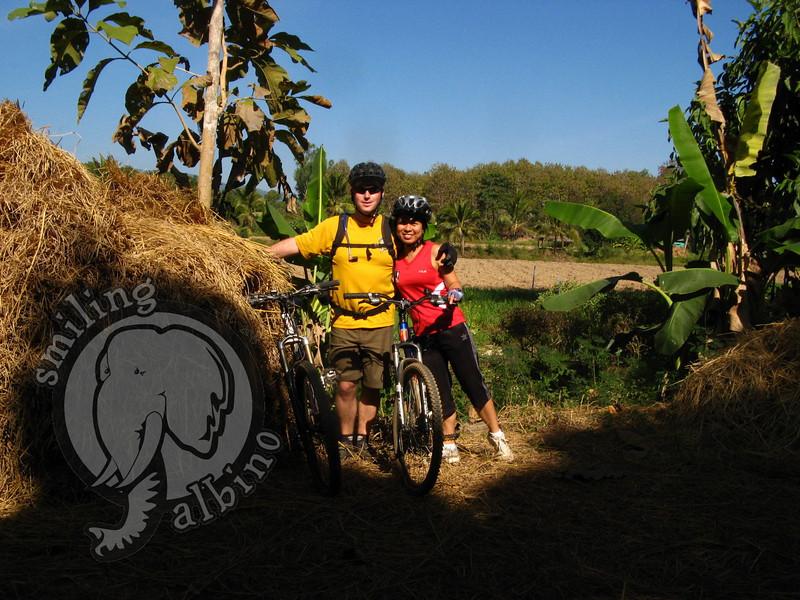 Scott & Erika cycling in Chiang Rai