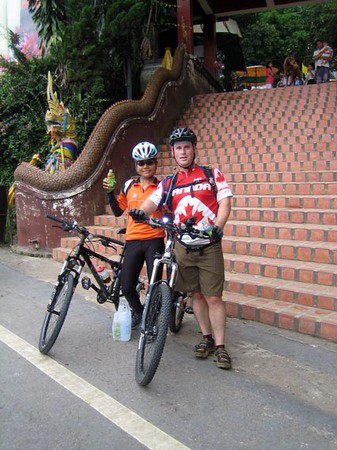 Nee and Scott after successfully riding up Doi Suthep.