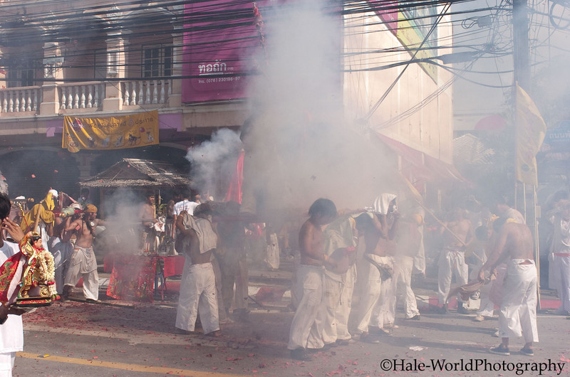 Devotees Bearing A Ma Song from Ban Neow Shrine Parade Through Phuket Town