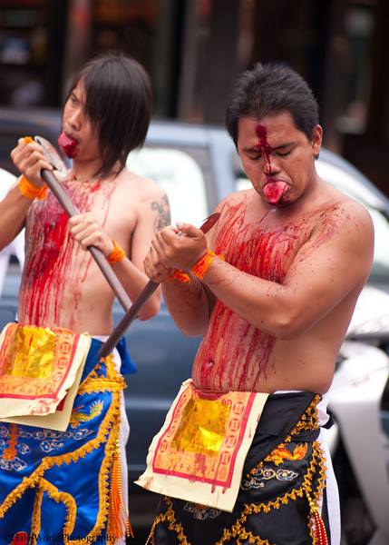 Ma Song Participates In Morning Procession Through Phuket Town - Blood Flowing Down His Chest From Self Mortification of His Tongue with An Axe